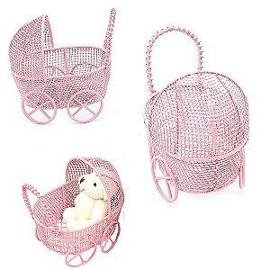 12 Unidades Carrinho de Bebê Aramado Rosa