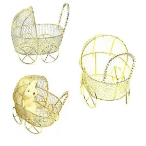 12 Unidades Carrinho de Bebê Aramado Dourado