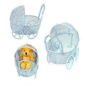 12 Unidades Carrinho de Bebê Aramado Azul