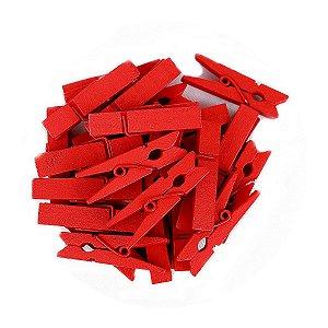 50 Unidades Mini Pregadores Vermelho 3,5 cm