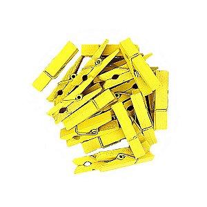 50 Unidades Mini Pregadores Amarelo 3,5 cm