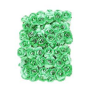 72 Unidades Mini Botão de Rosa em Papel Verde Esmeralda