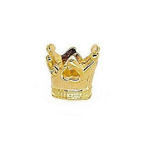 20 Unidades Mini Coroa em ABS Dourada 1,4 cm para Lápis