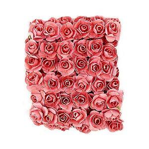 72 Unidades Mini Botão de Rosa em Papel Salmão