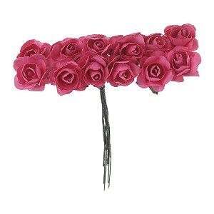 72 Unidades Mini Botão de Rosa em Papel Rosa Pink
