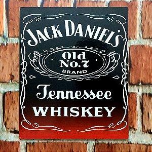 Placa em MDF 23 x 18 Jack Daniels preta e vermelha