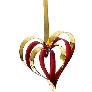 Enfeite Decorativo Corações Vermelho e Dourado 4 peças