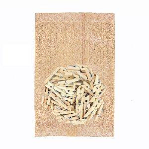 50 Unid. Saco Kraft P + Mini Pregador 2,5 cm