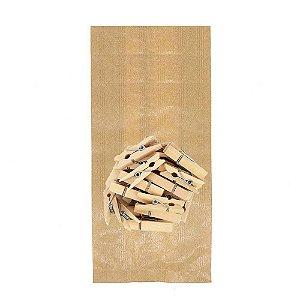 50 Unid. Saco Kraft M + Mini Pregador 3,5 cm