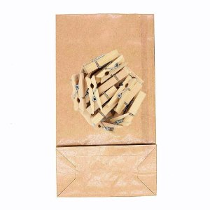 50 Unid. Saco Kraft G + Mini Pregador 3,5 cm