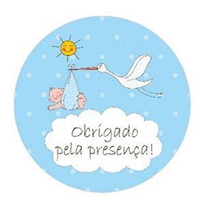 10 Unid. Etiqueta Adesiva Cromo Cegonha Baby Menino 5 Cm