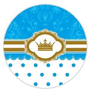 10 Unid. Etiqueta Adesiva Cromo Coroa Azul 4 Cm