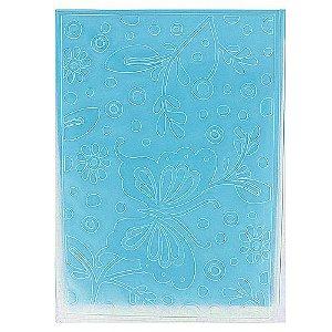 Placa de Textura Emboss 10,6 cm x 15 cm Borboletas e Flores