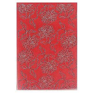 Placa de Textura Emboss 10,6 cm x 15 cm Dália com Folhas