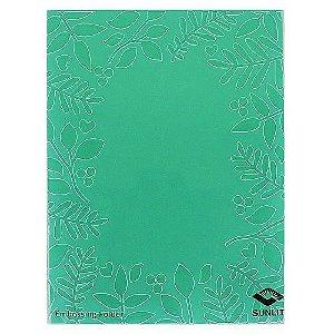 Placa de Textura Emboss 11 cm x 14,6 cm Papel Carta Folhas