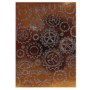 Placa de Textura Emboss 13 cm x 18 cm Engrenagens