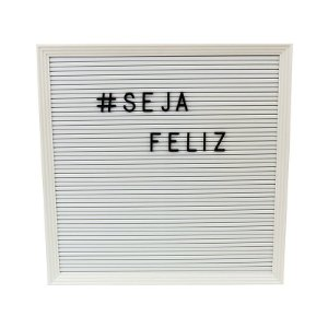 Quadro Decorativo Letter Board Branca Letras Pretas