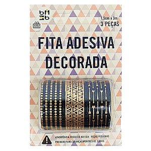 3 Unidades Fita Adesiva Washi Tape Foil Chique Poá