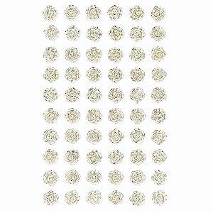 Adesivo Decorativo Mini Rosa Prateada 60 Unidades