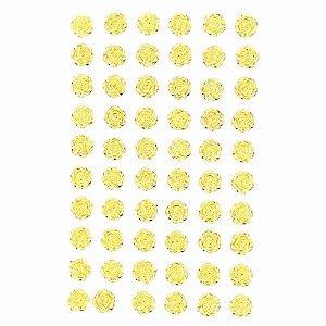 Adesivo Decorativo Mini Rosa Dourada 60 Unidades