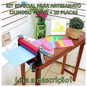 Kit Especial Cilindro Para Artesanato + Base Para Emboss + 20 Placas de Textura - LEIA DESCRIÇÃO