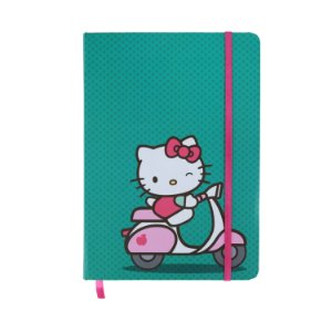 CADERNETA DE ANOTACAO HELLO KITTY RIDDING A BIKE FD VERDE A5 21 X 1 X 14,8  CM 100FLS