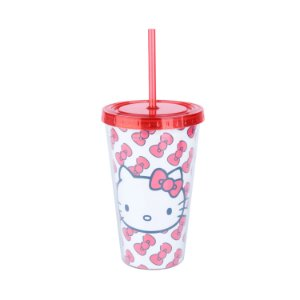 COPO CANUDO PLASTICO HELLO KITTY 500ML