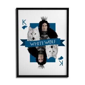 QUADRO WHITE WOLF GHOST JON SNOW GOT BY CLEYTON BRAGA PRETO A4 - Beek