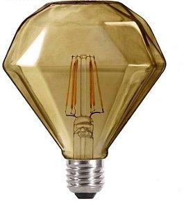 Lâmpada Filamento Led Diamante Retrô 4w 5w Vintage Âmbar