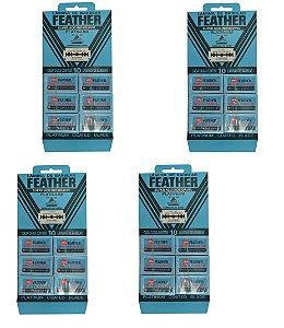 Lâmina de Barbear Feather Platinum Aço Inoxidável - 4 Cartelas com 60 Lâminas (240 Lâminas)