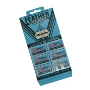 Lâmina de Barbear Feather Platinum Aço Inoxidável - 1 Cartela (60 Lâminas)