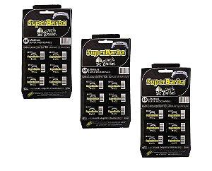 Lâmina de Barbear Super Barba Black Aço Inoxidável - 3 Cartelas com 60 Lâminas (180 Lâminas)