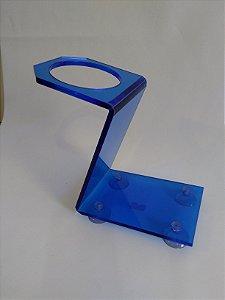 Suporte para 1 Secador - Acrílico - Azul - Com Ventosas