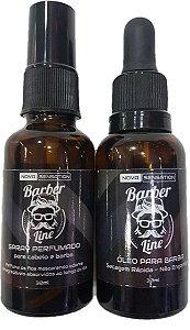 Óleo para Barba Barber Line + Spray Perfumado para Cabelo e Barba Barber Line