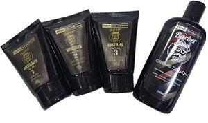 Kit Barba Barber Line: Esfoliante + Máscara Black + Creme Hidratante + Creme Design