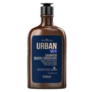 Shampoo Silver│Grisalhos Farmaervas Urban Men (Barba Cabelo Bigode - 240ml)