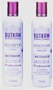 Shampoo Matizador Sem Sal Butkam (300ml) + Condicionador Matizador (300ml)