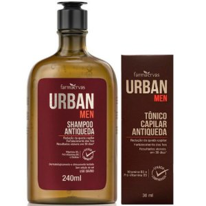 Shampoo Antiquedas e Tônico Capilar Farmaervas Urban Men (240ml +30ml)