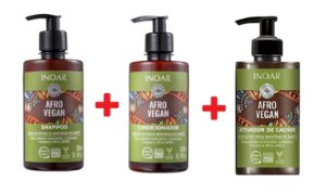 Kit Inoar Afro Vegan Shampoo + Condicionador + Ativador de Cachos