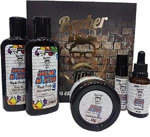Kit Barber Line Cabelinho na Régua (Shampoo + Balm + Óleo + Pomada Modeladora + Deo Colônia)