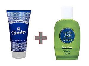 Kit Palmindaya Creme de Barbear (150g) + Loção Após Barba Aloe Vera (130 ml)