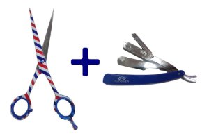 "Kit Euphoria Inox: Tesoura Fio Laser Barber 6,5"" + Navalhete Cabo Plástico Azul"