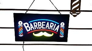Placa Decorativa Luminosa Barbearia - Bivolt