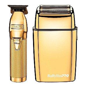 Combo Babyliss PRO Gold FX Collection - Barbeador Shaver + Máquina de Acabamento (Bivolt)