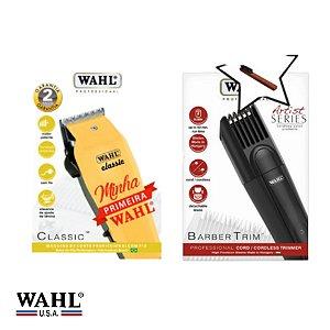 Kit Máquina de Corte Wahl Classic (110v) + Máquina de Acabamento Wahl Barber Trim (Bivolt)