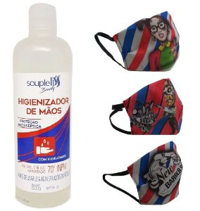 Kit Três Máscaras de Tecido Tactel com Forro TNT + Álcool Gel 70% com Hidratante Soupleliss (500ml)