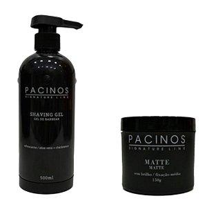 Kit Shaving Gel Pacinos - (500ml) + Pomada Modeladora Pacinos Matte - (150g)