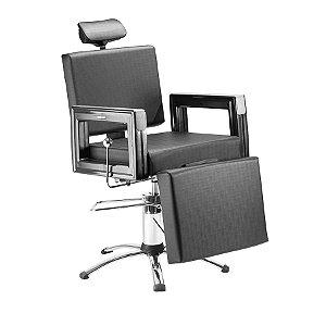 Cadeira Super Reclinável Square - Cor Preta - Dompel