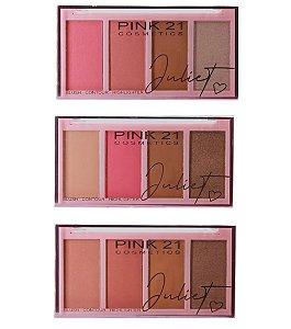 Paleta de Blush/contorno/Iluminador - Juliet - CS3114 - Pink21
