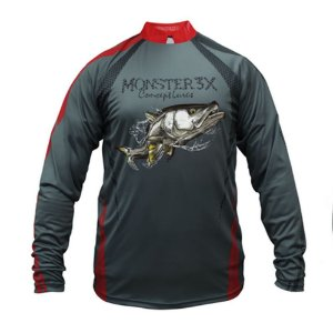 Camiseta De Pesca Monster 3x Robalo New Fish 04 Com Proteção Solar Uv